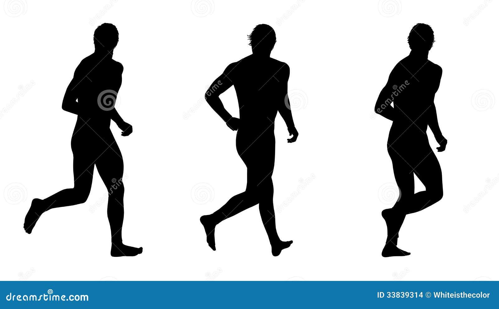 Running Man In Suit Silhouette Man running silhouettes set 4