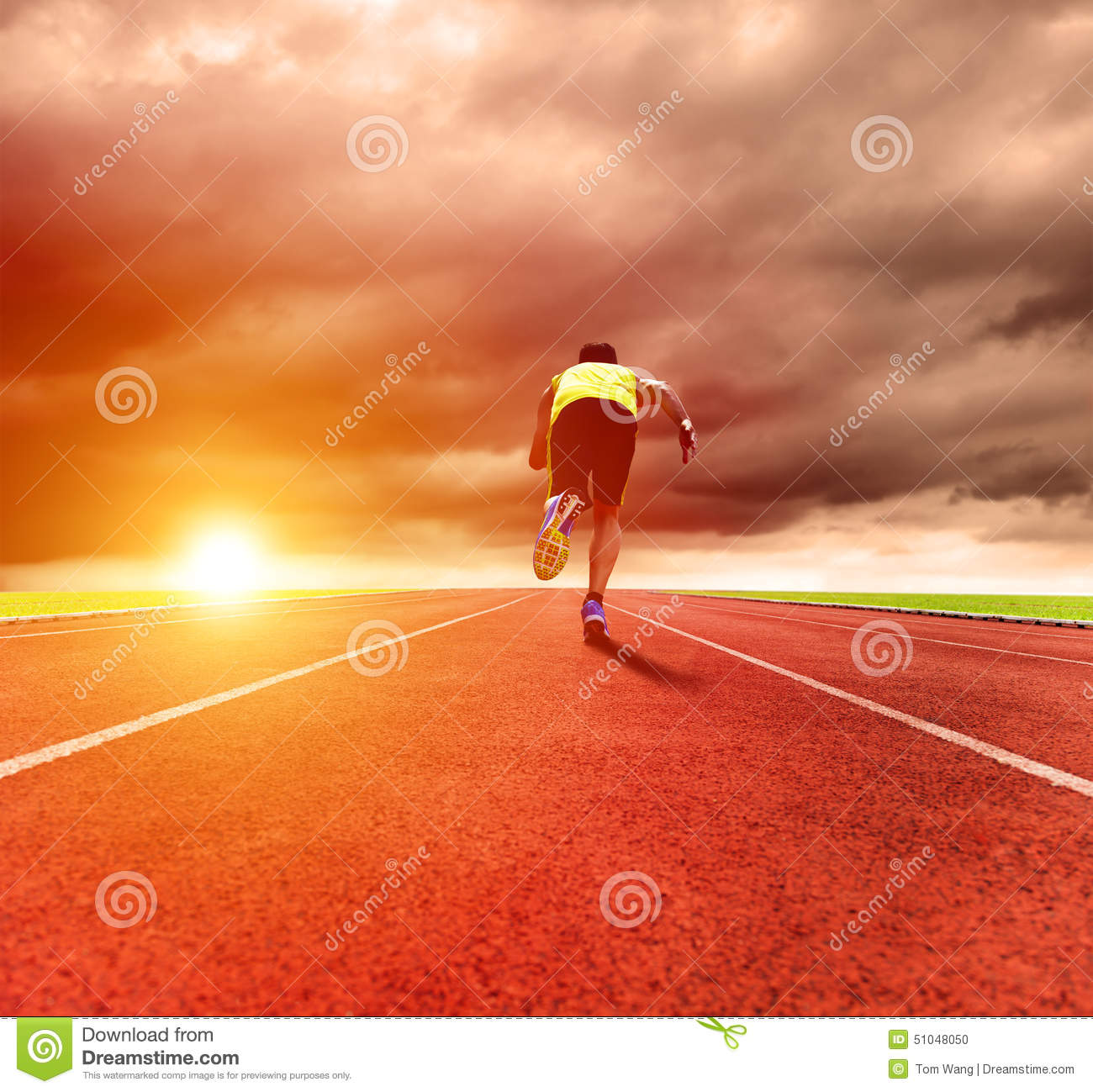Man Running On The Track With Sunrise Background Stock ...