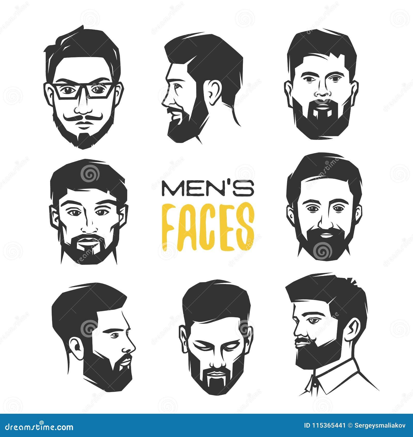 Man`s face with beard.