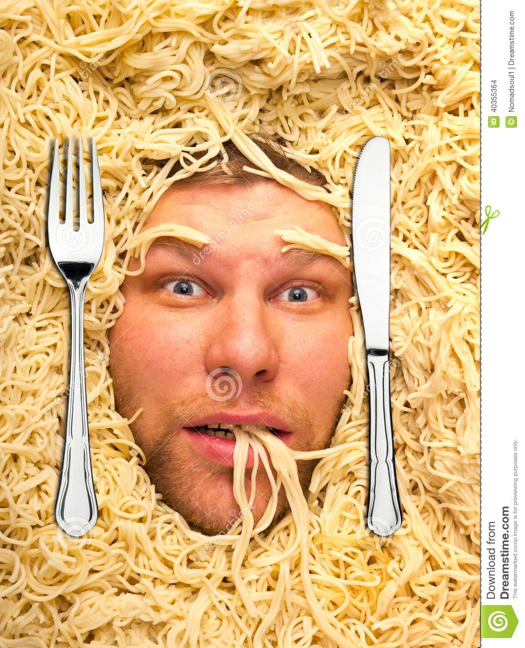 Man s face in pasta, closeup