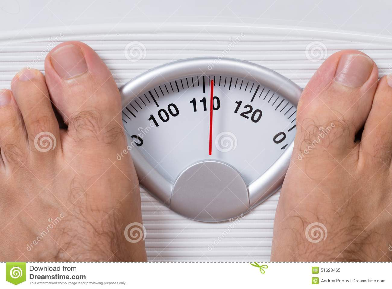 Closeup Of Mans Feet On Weight Scale