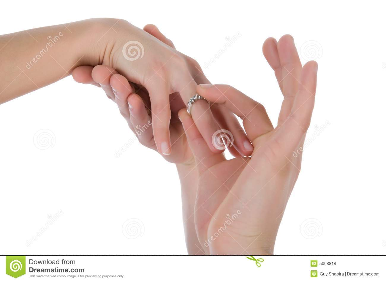 Man\'s And Female Hands With A Wedding Ring Stock Photo - Image of ...