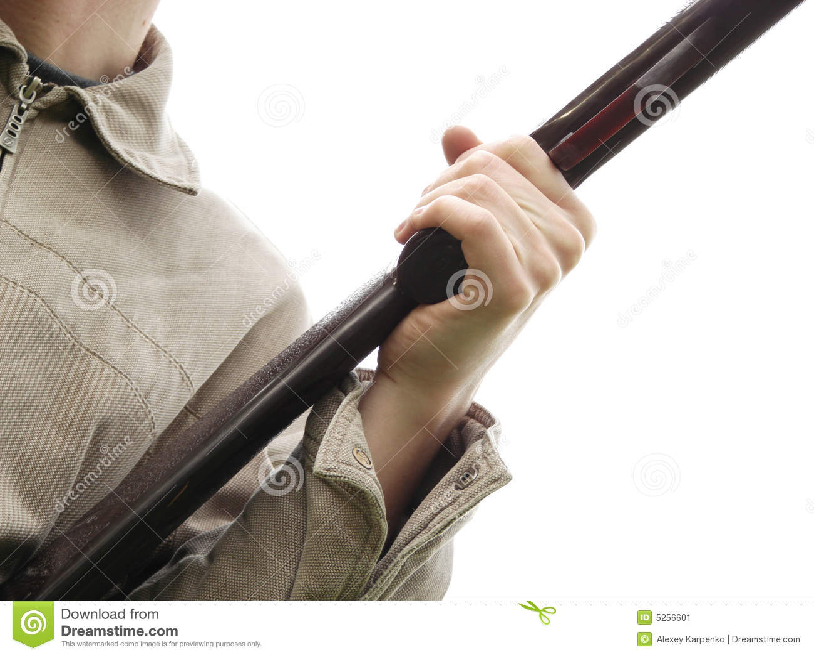 Man S Hand Holding Rifle Stock Image Image 5256601