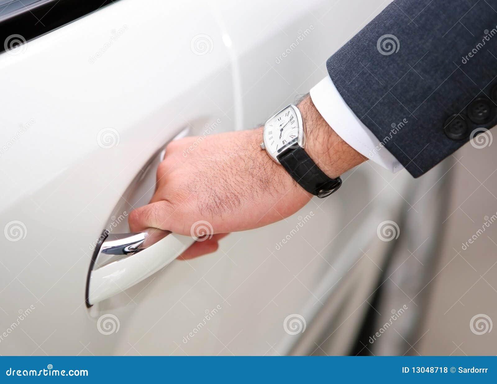 Mans Hand Opening Luxury Car Door Stock Photo Image Of Macro