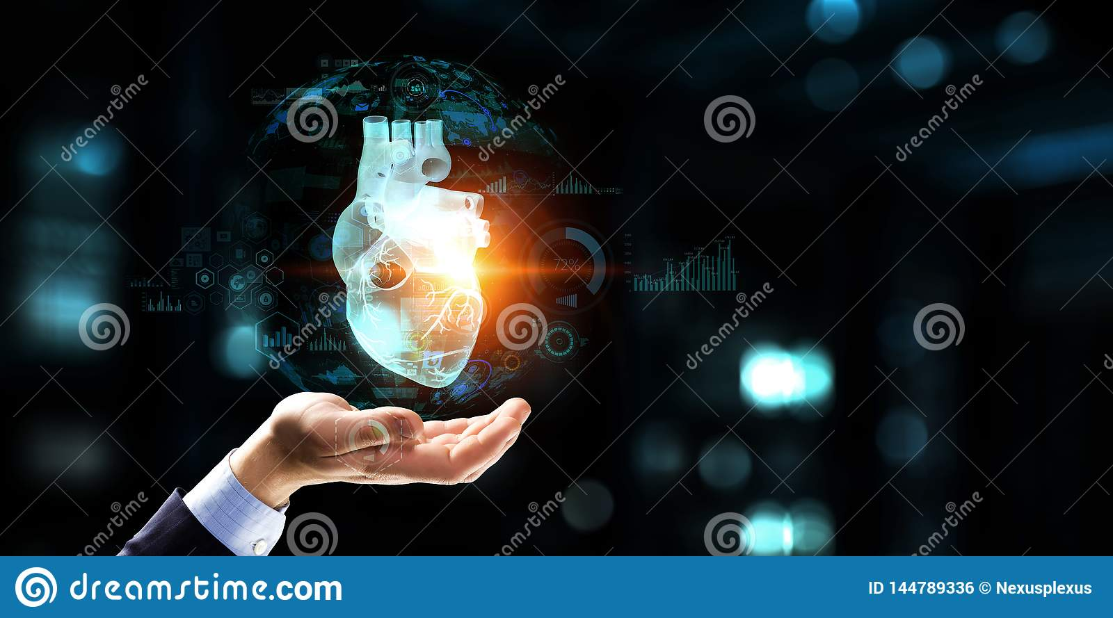 Man S Hands On Laptop And Anatomical Heart Model  Mixed Media  Stock