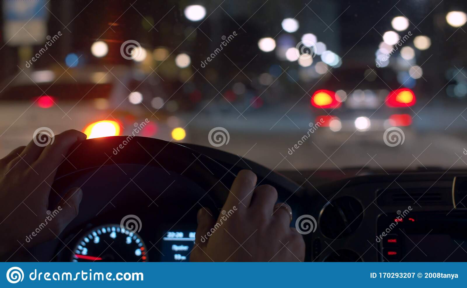 Man S Hands On The Steering Wheel Night Driving Stock Image Image Of Drive Defocused 170293207