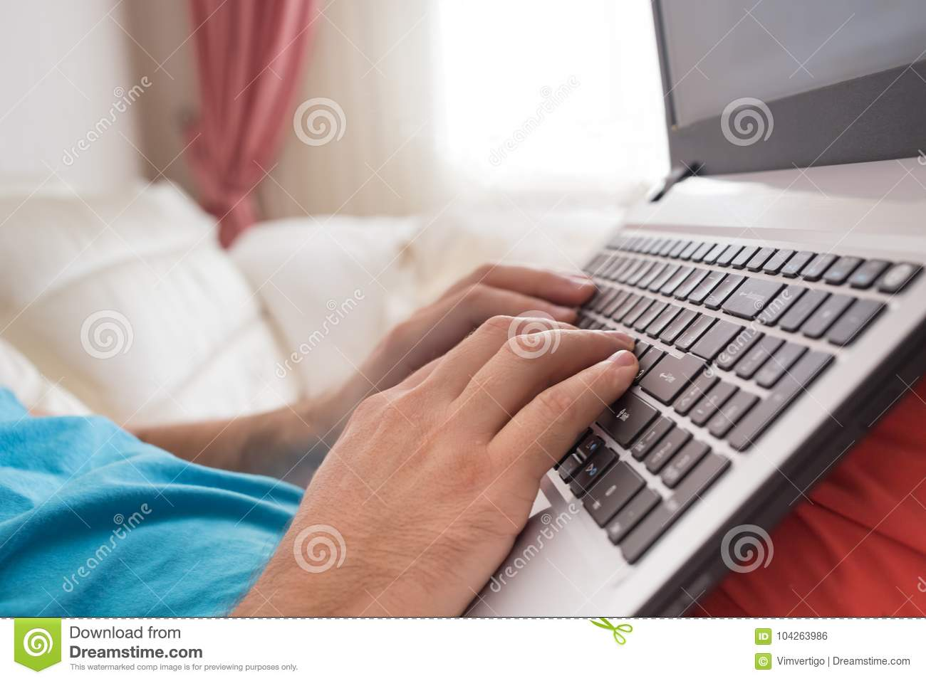 Man`s Hands Typing On Laptop Notebook Keyboard At Home ...
