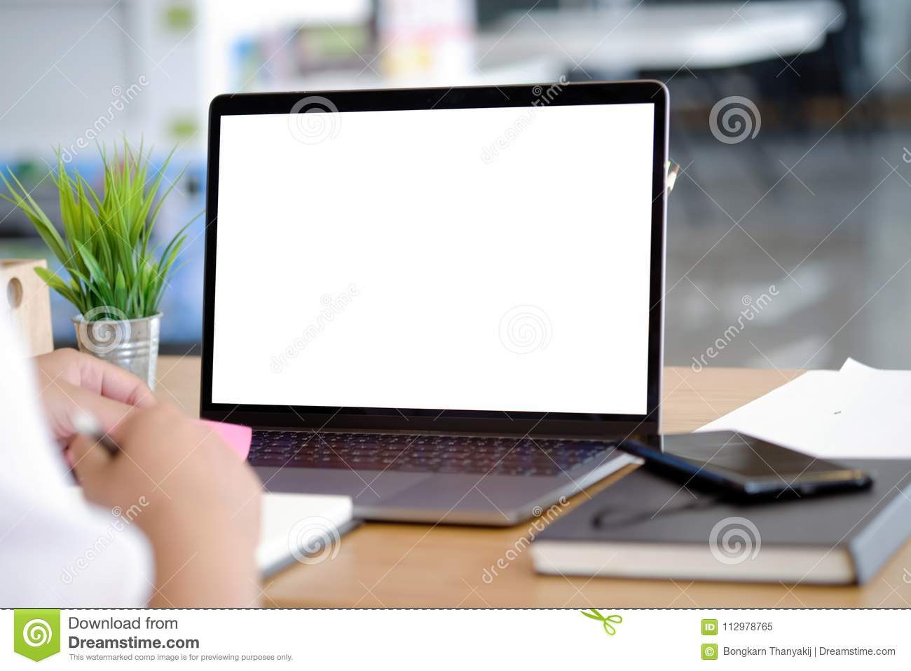 Business man working with laptop on desk