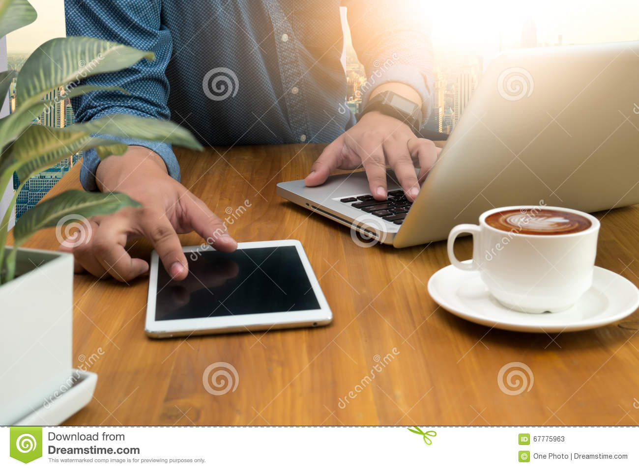 Man s hands using a laptop at home, business man hands busy usin