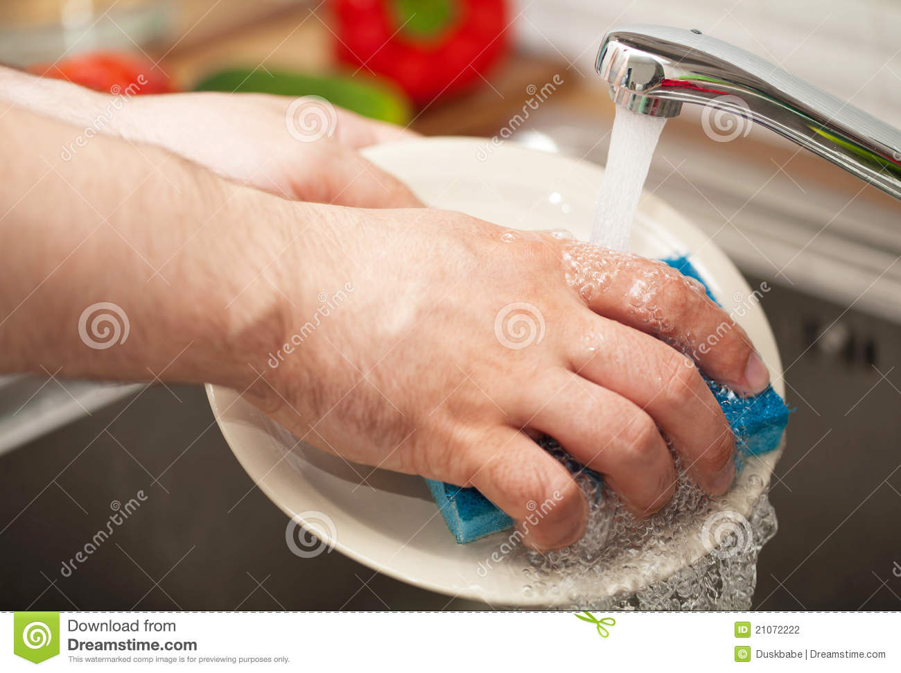 Man S Hands Washing Dishes Stock Photo Image Of Indoor