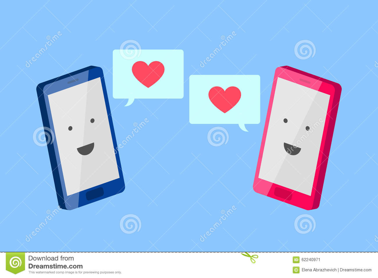 man 39 s phone and woman 39 s phone love message stock vector