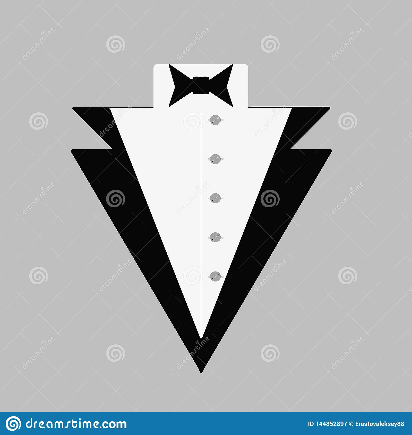 Man`s tuxedo with a bow tie and a button-down shirt. Gentleman`s logo. Vector illustration.
