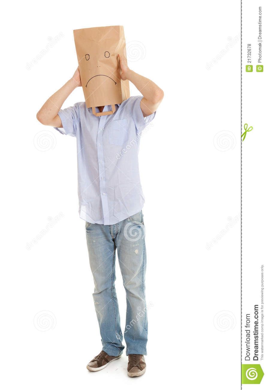 Man With Sad Paper Bag On Head Full Length Stock Photo