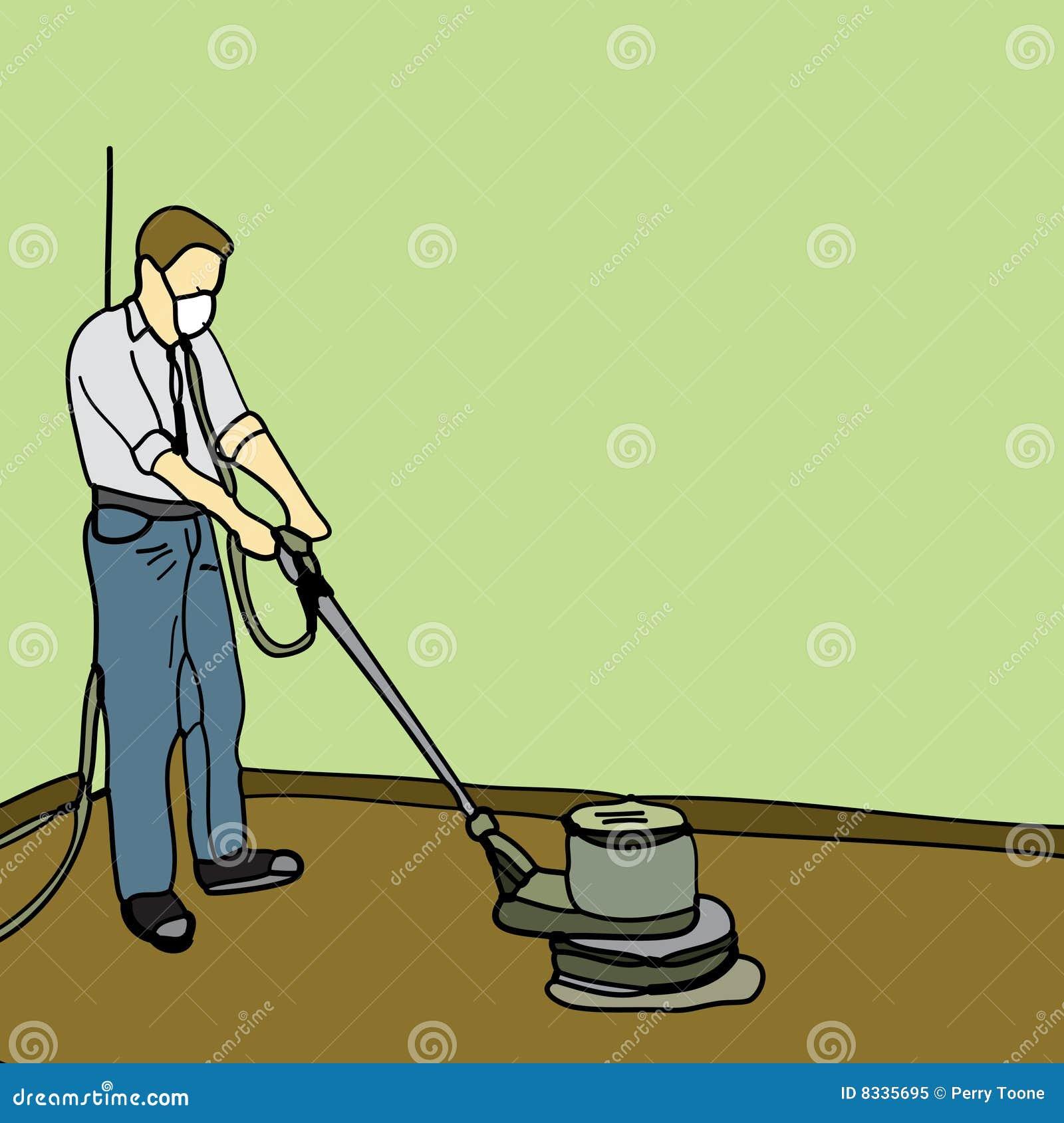 man using an orbital sanding machine to refinish a wooden floor.