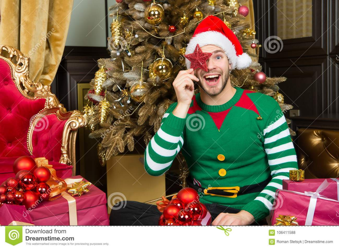 Download comp  sc 1 st  Dreamstime.com & Man Santa Cover Smiling Face With Star Decoration Stock Photo ...