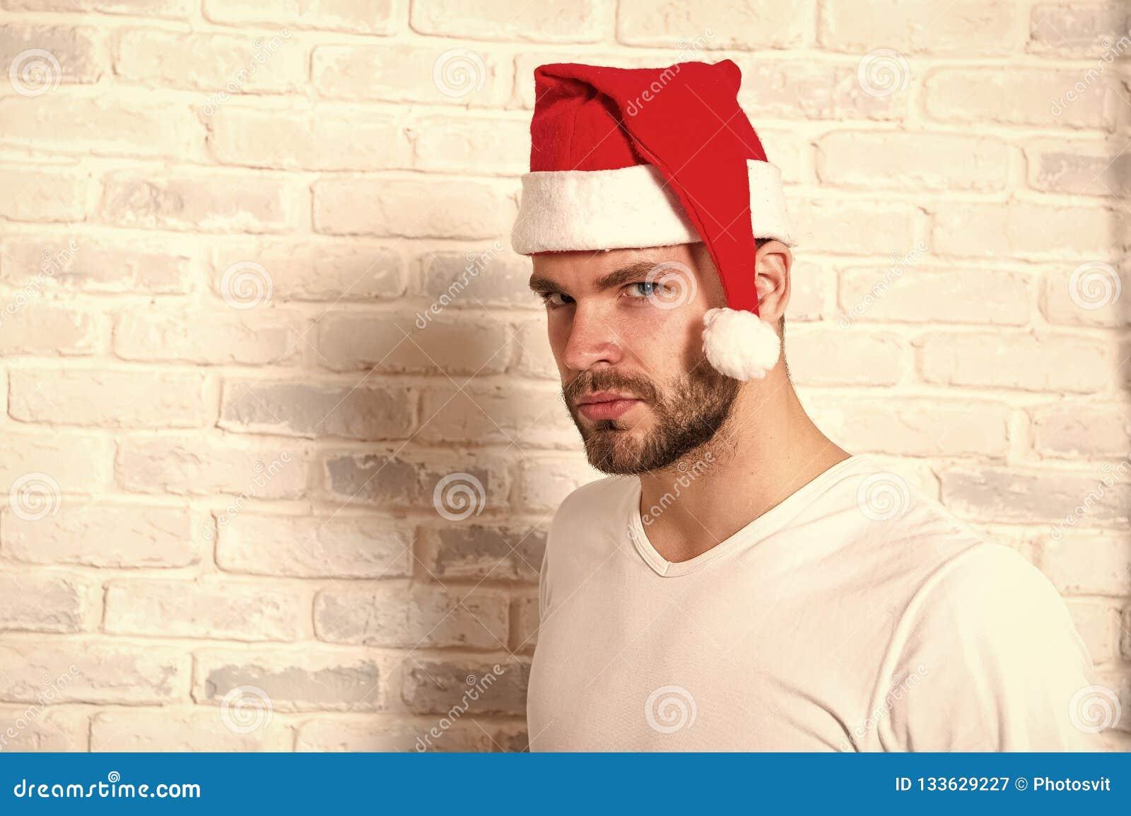 Man Santa In Tshirt On White Brick Wall Stock Image , Image