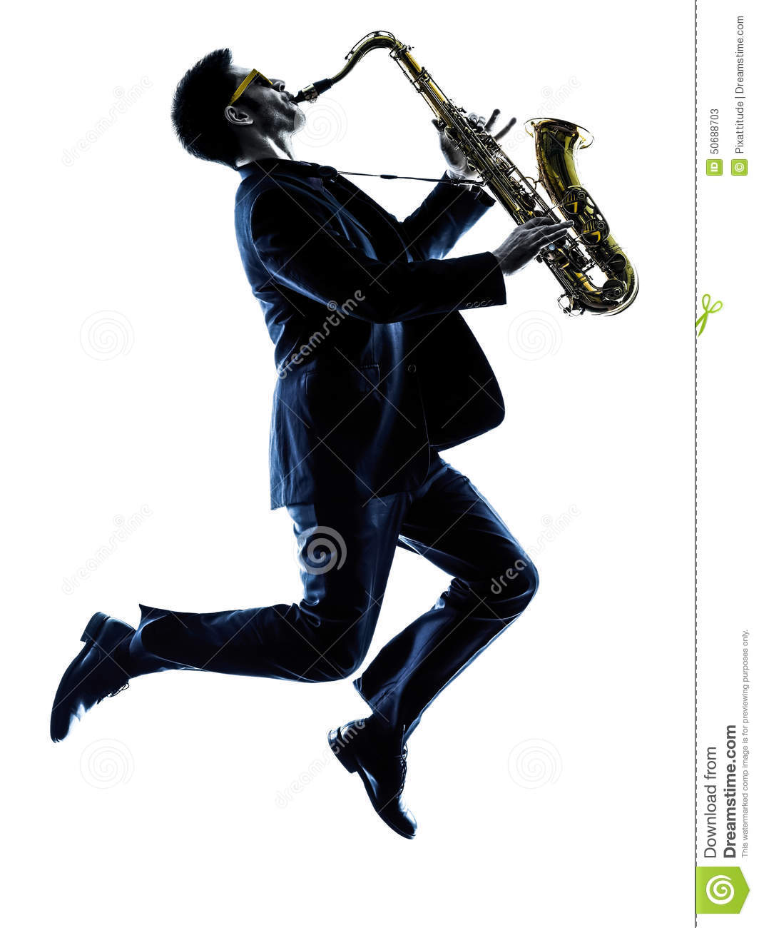 Man Saxophonist Playing Saxophone Silhouette Stock Image ...