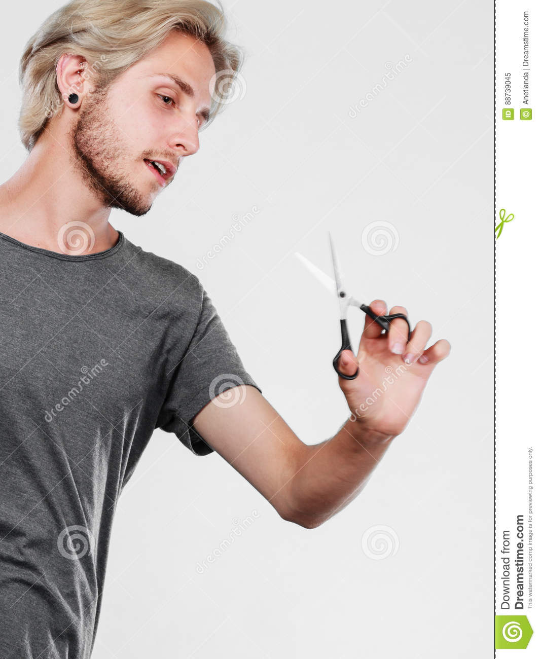 Man With Scissors Ready To Hair Cutting Stock Image Image Of