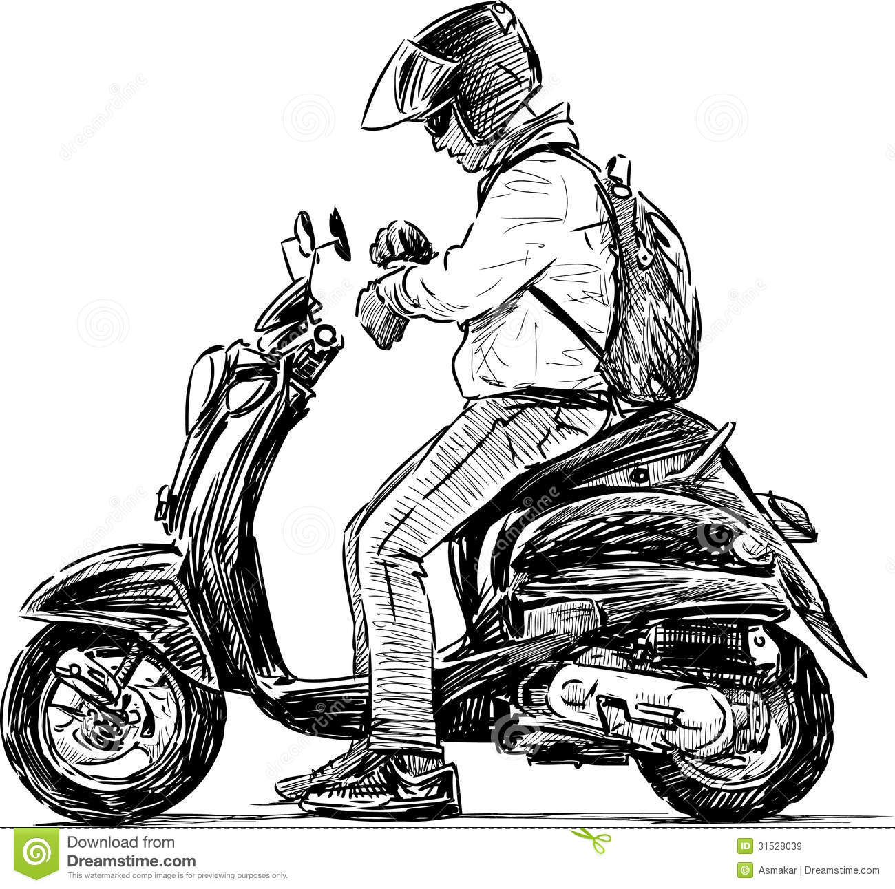 Man On A Scooter Royalty Free Stock Images - Image: 31528039