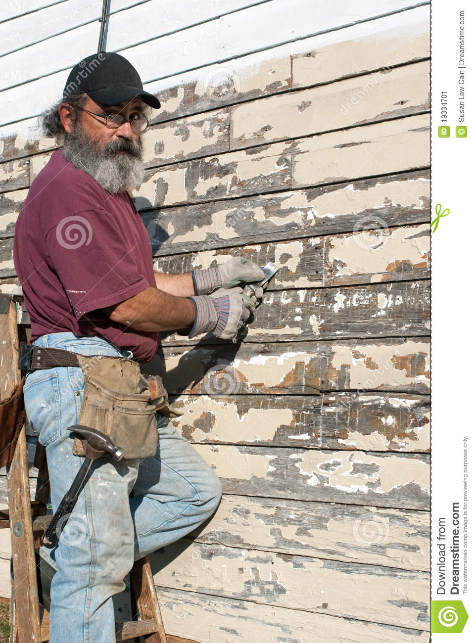 Man Scraping Paint Stock Image Image 19334701
