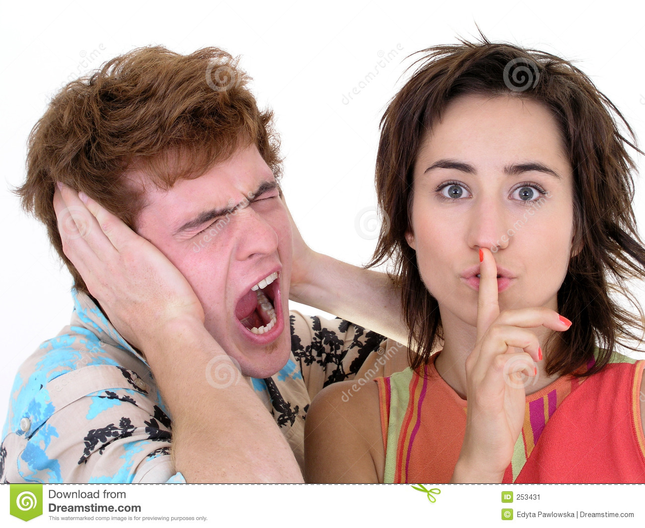Man Screaming and Woman Making Silence Gesture