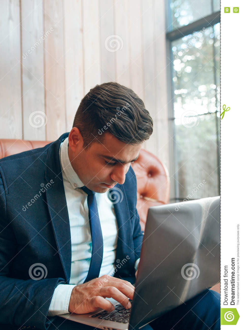 Man searching for information online
