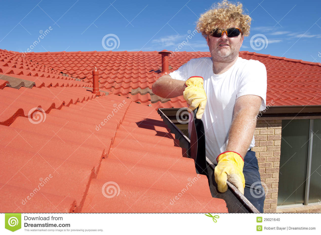 Man Seasonal Gutter Cleaning Red Roof Stock Photo Image