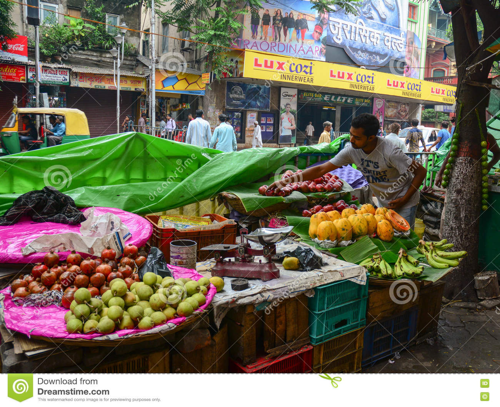 A Man Sells Fruits On Street In Kolkata, India Editorial Photo