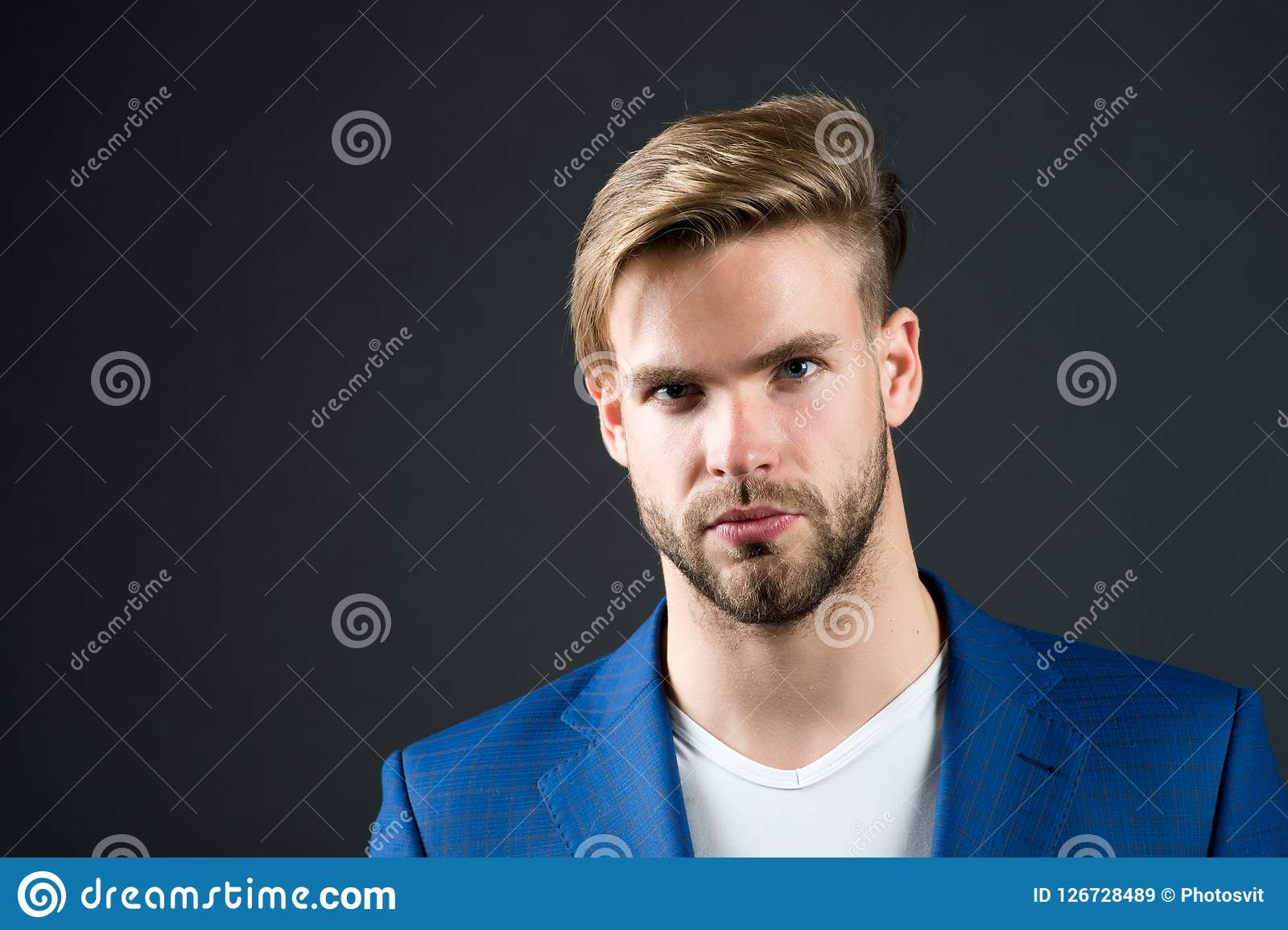 Man Serious Bearded Unshaven Guy With Perfect Hairstyle Dark