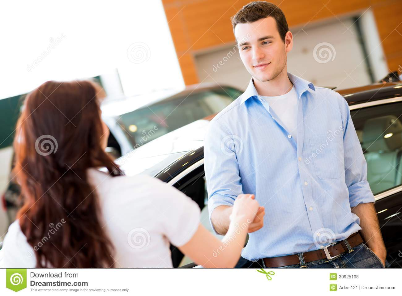 man shaking hands with car salesman stock photo image 30925108. Black Bedroom Furniture Sets. Home Design Ideas