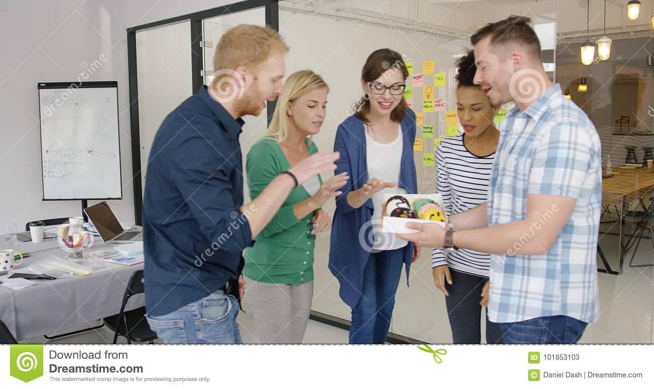 Man sharing with colleagues
