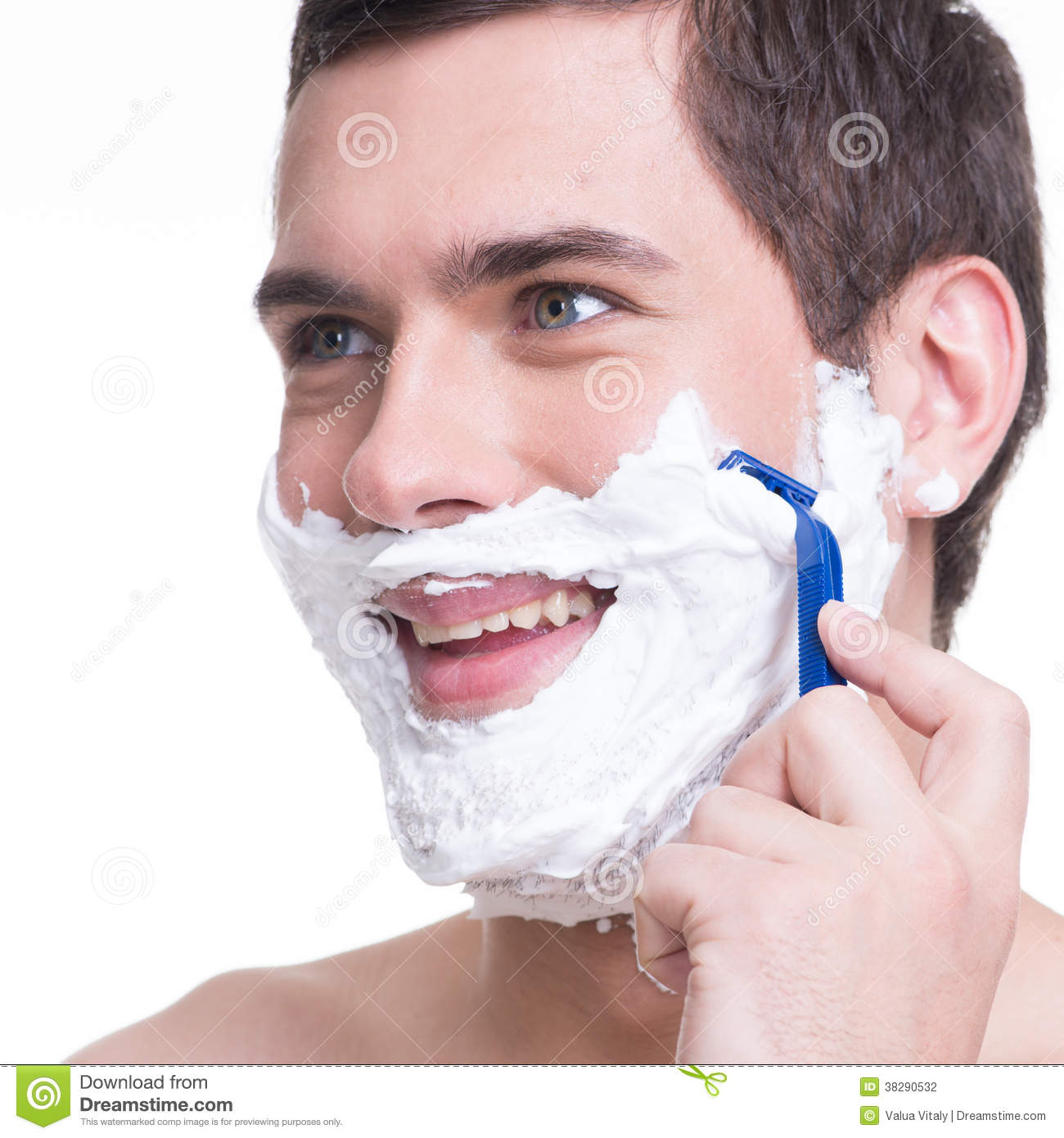 man shaving the beard with the razor stock photo image 38290532. Black Bedroom Furniture Sets. Home Design Ideas