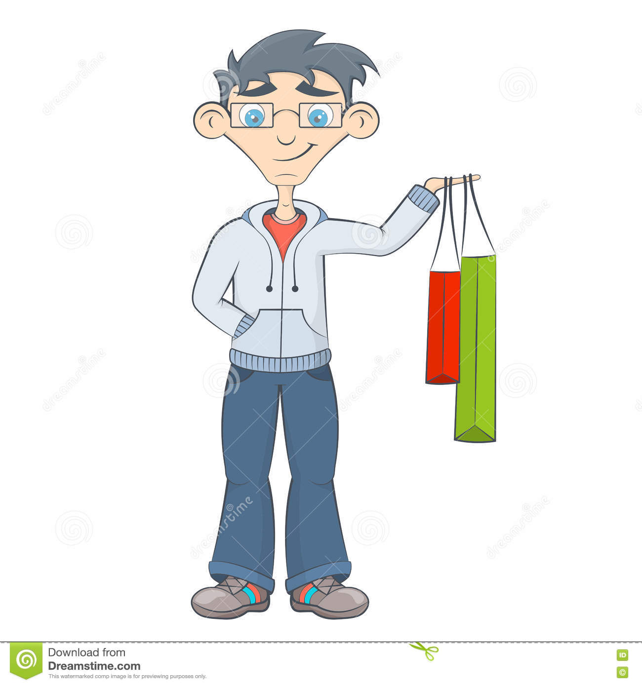 Man With Shopping Bags. Teenager Keeps Purchases Stock ...