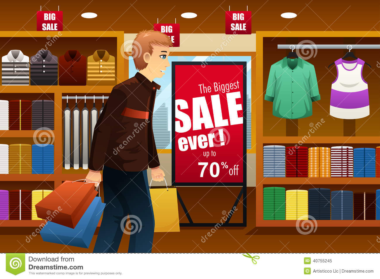 of man shopping at a clothing store inside of a shopping mall
