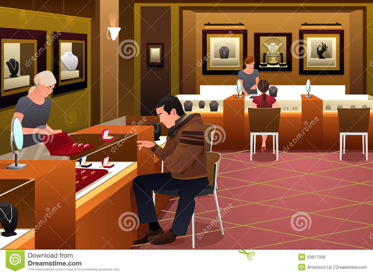Man Shopping For A Wedding Ring In A Jewelry Store Stock Vector