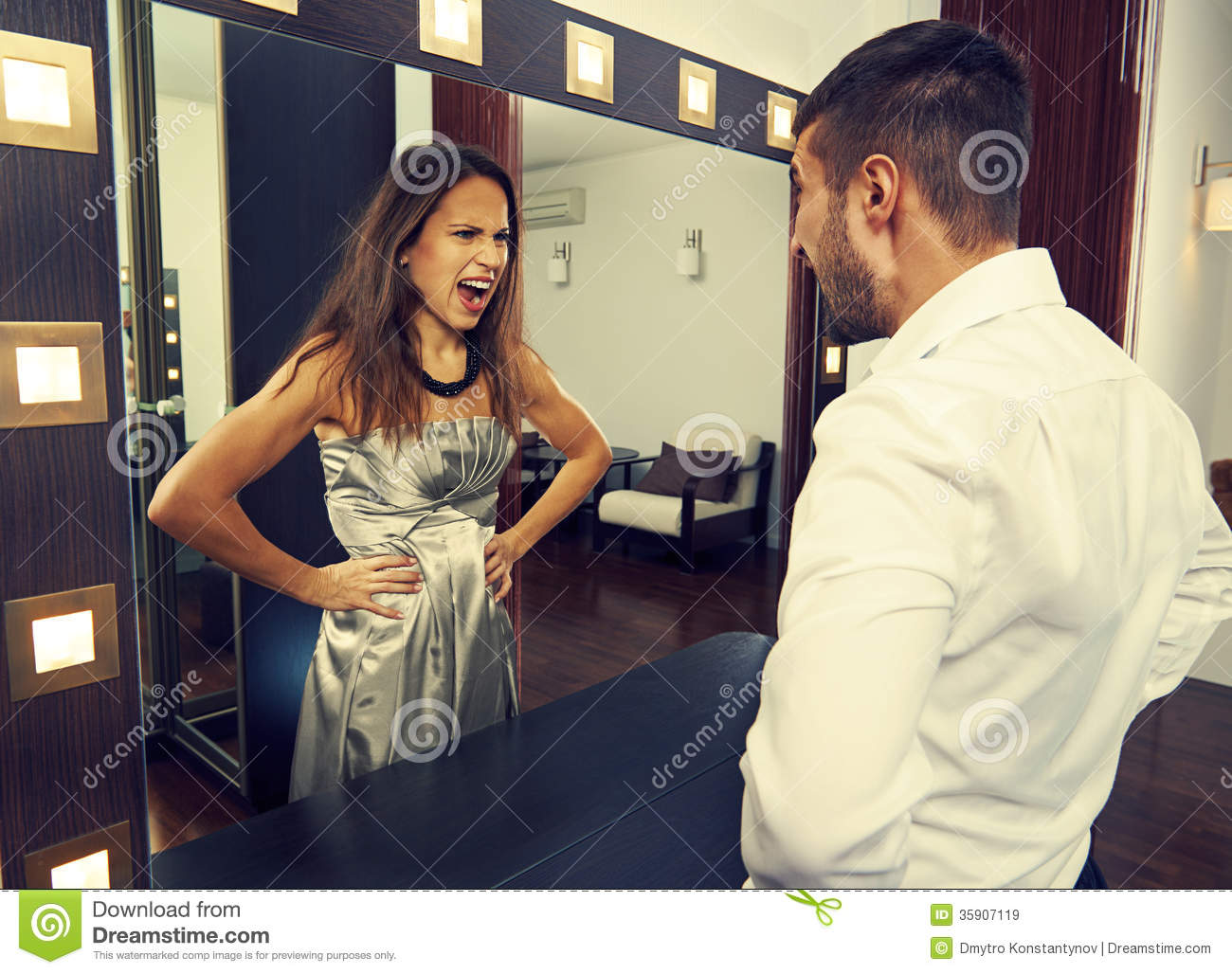 Man Shouting At Mad Woman In The Mirror Royalty Free Stock ...