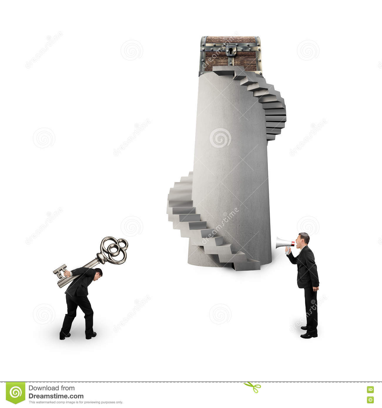 Man shouting other carrying key with treasure chest
