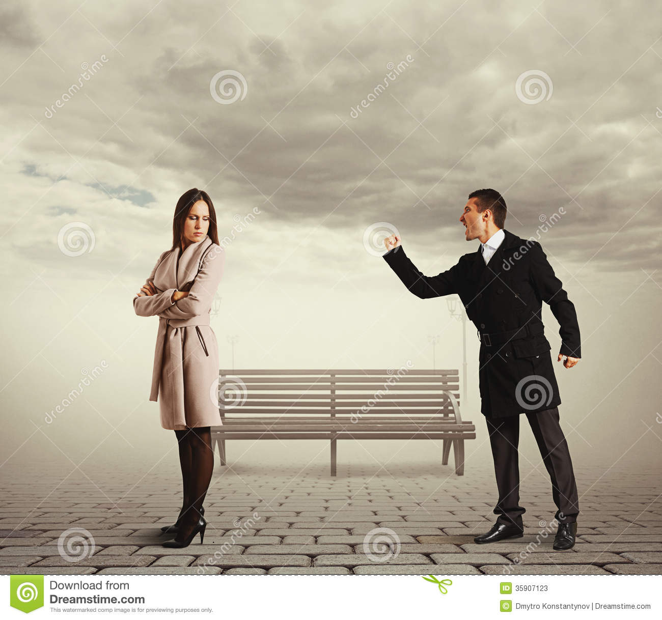Man shouting at sad woman stock image. Image of loud ...