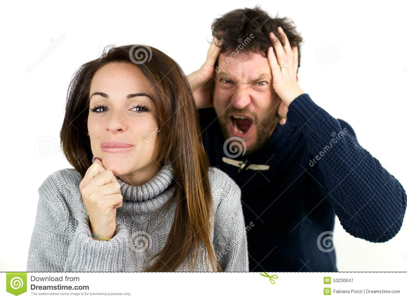 Download Man Shouting While Woman Is Laughing Being Naughty Stock Image - Image of lifestyle, happy: 53230647