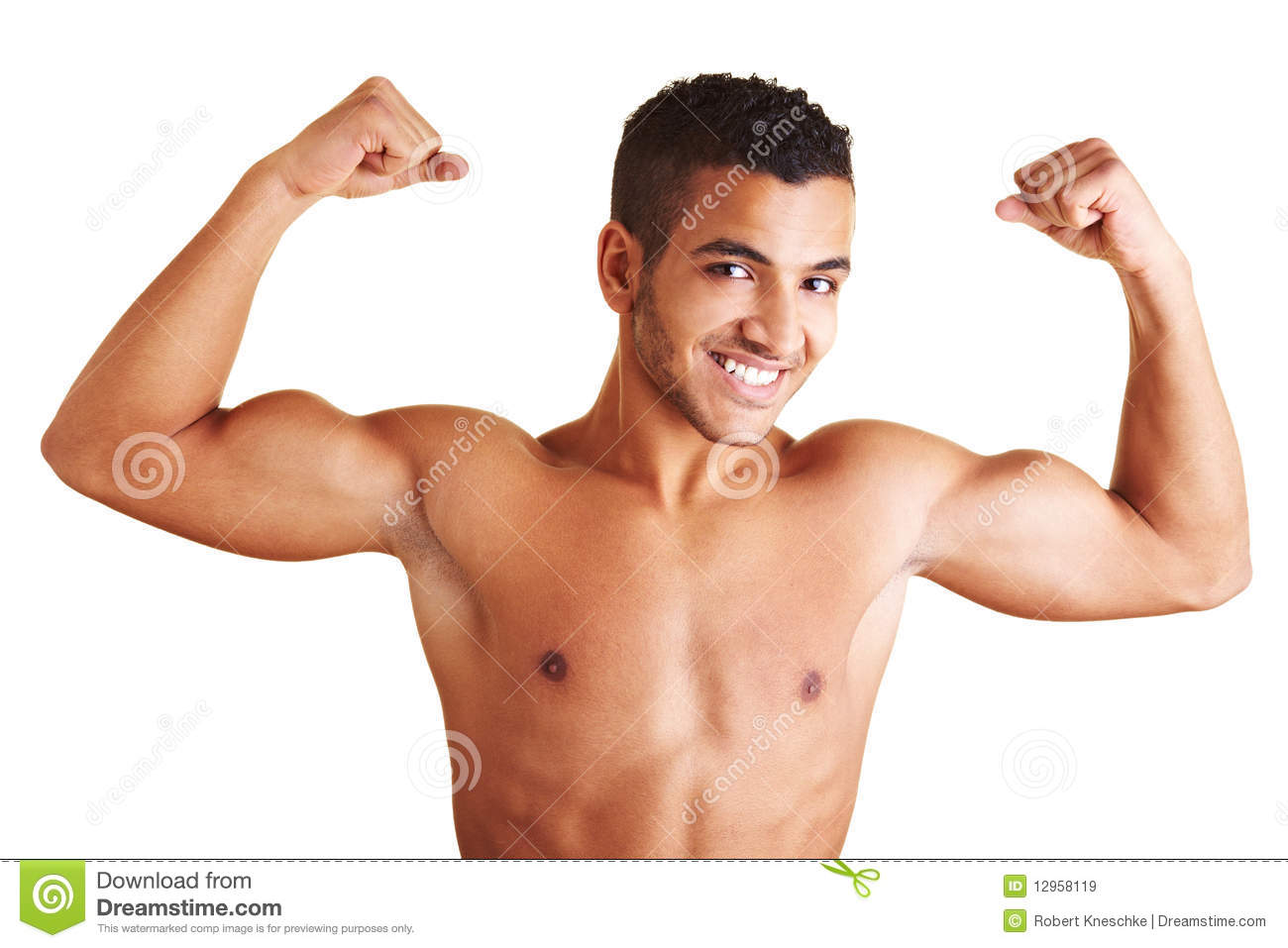 man showing both arm muscles stock image image of. Black Bedroom Furniture Sets. Home Design Ideas