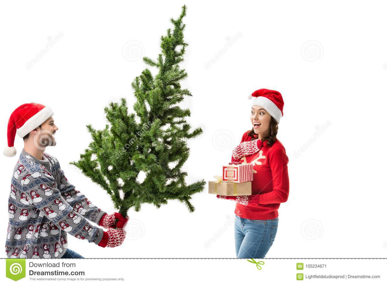 Man Showing Christmas Tree To Girlfriend Stock Image - Image of ...
