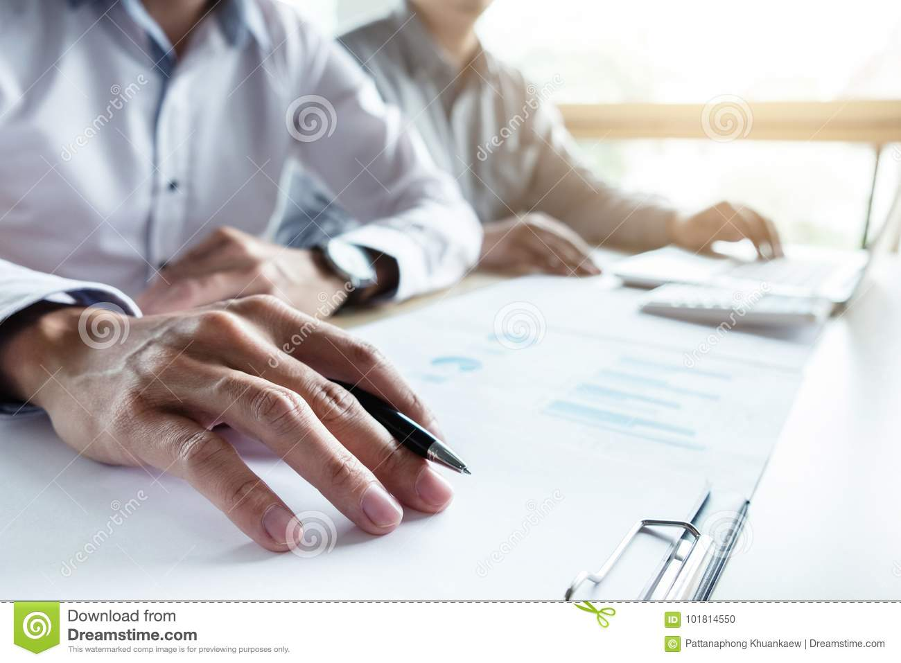 Man sign a home insurance policy on home loans, Agent holds loan