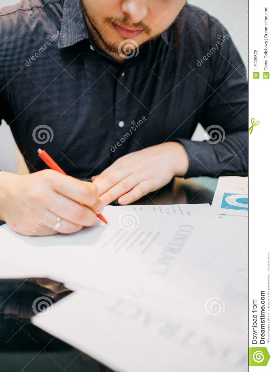 Man Sign Contract Closeup Business Legal Deal Stock Photo Image Of - Partnership legal documents