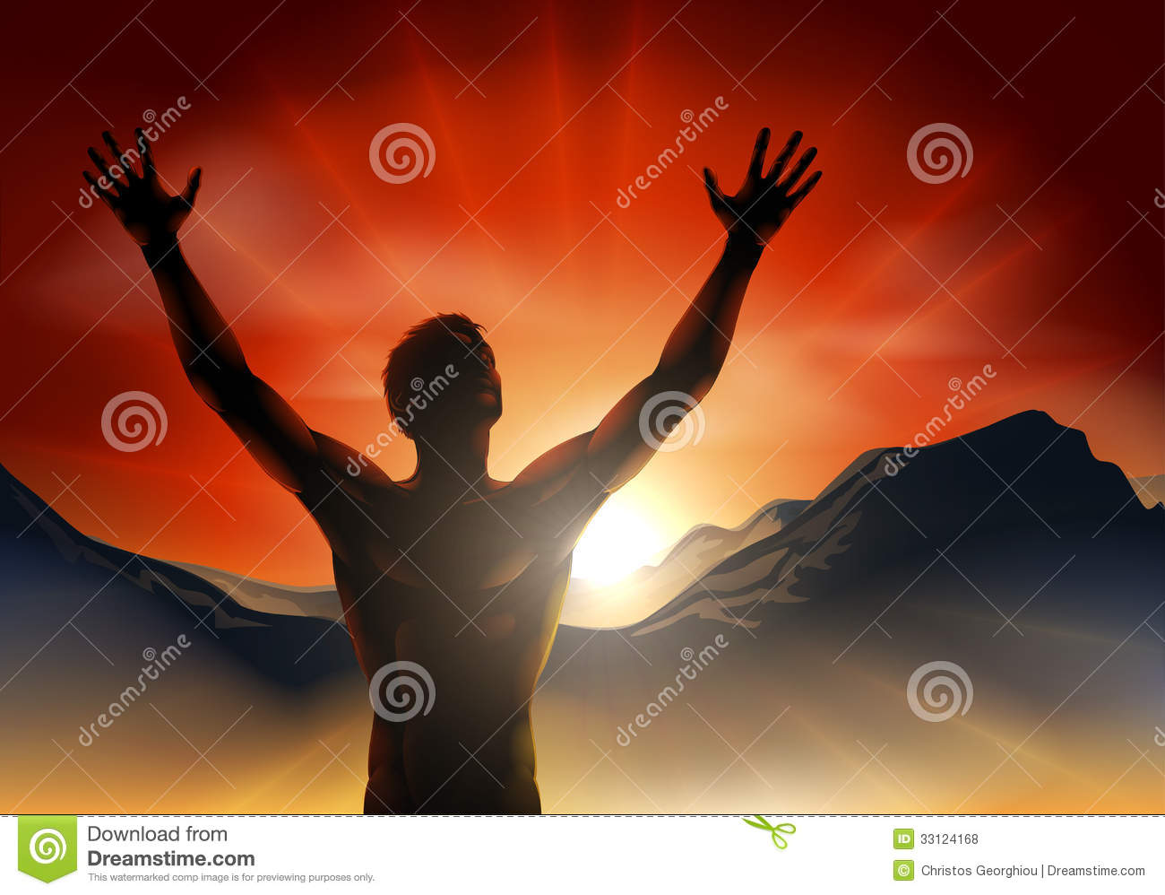 man in silhouette arms raised on mountain royalty free