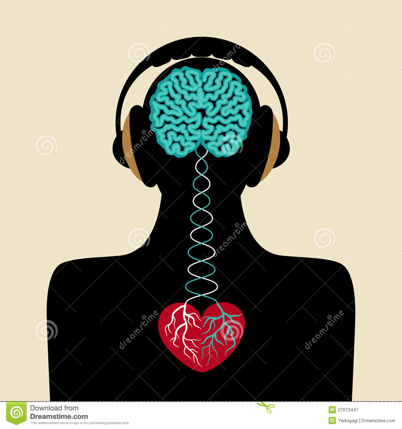Man Silhouette With Brain And Heart Royalty Free Stock Photography ...