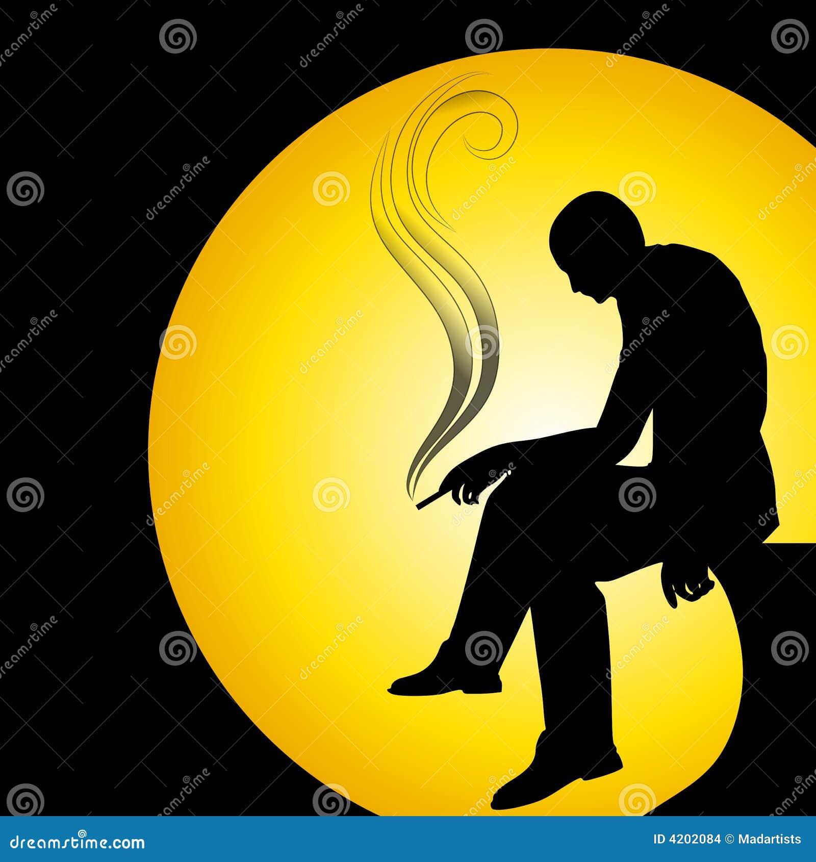Man Silhouette Smoking Alone Stock Images - Image: 4202084