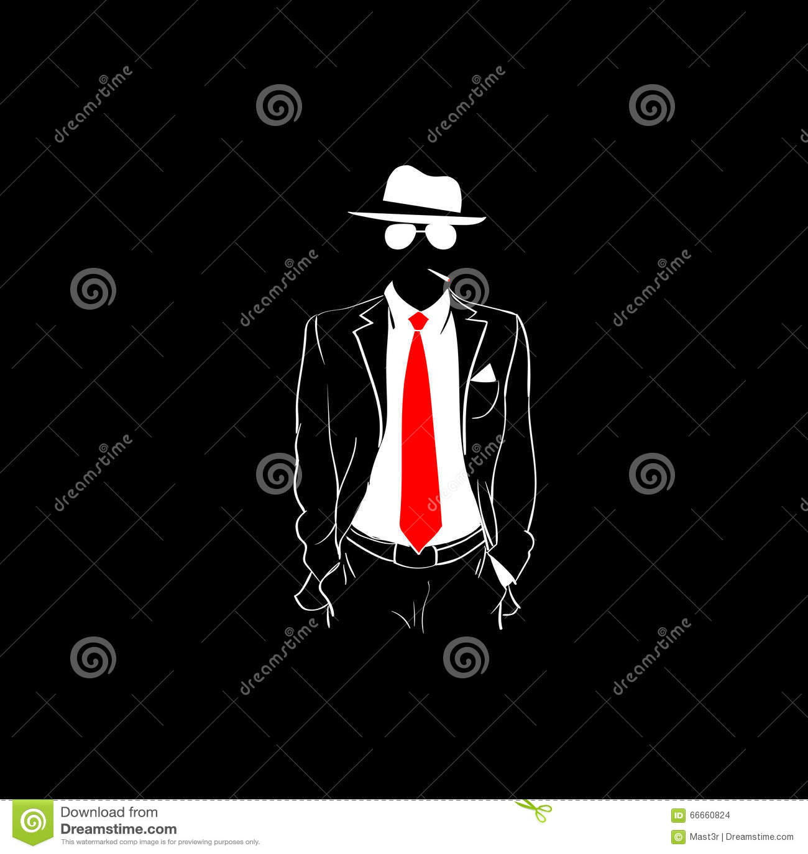 man silhouette suit red tie wear glasses white hat black