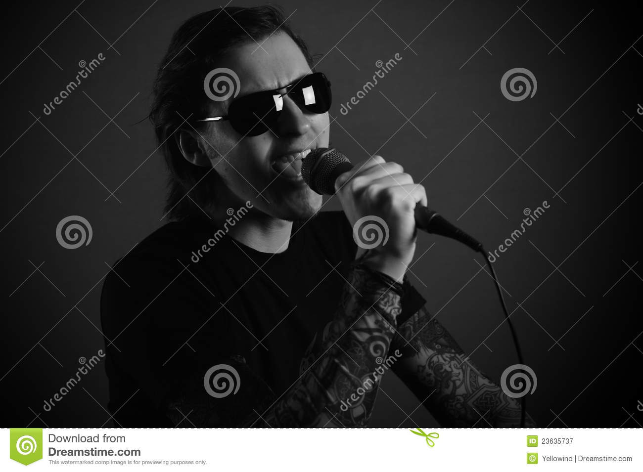 Man singer with microphone rock or metal