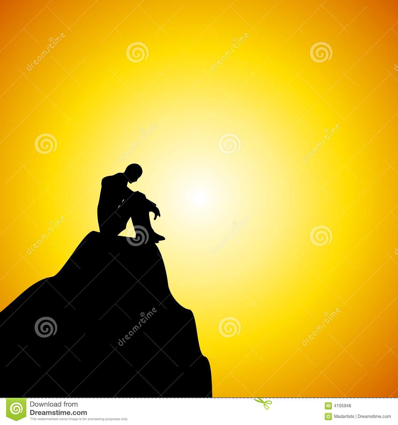Man Sitting Alone on Mountain At Sunset