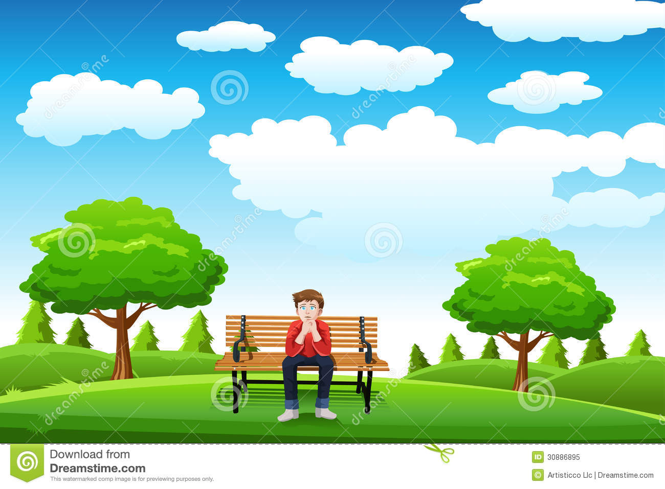 Man Sitting On The Bench Royalty Free Stock Photo - Image: 30886895